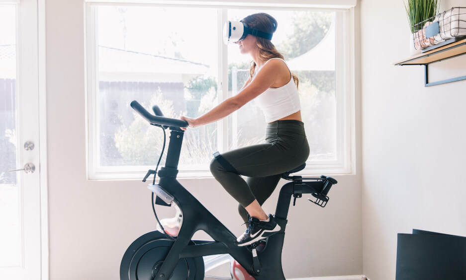 women using bycicle with vr